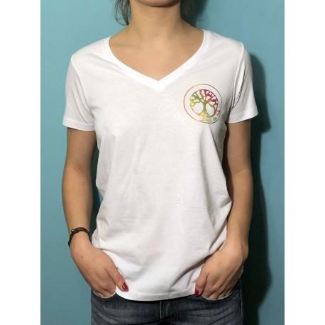 VIE - T-shirt m/c col V - Logo Arc en ciel