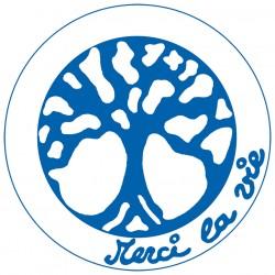 Symboles Merci La Vie à imprimer sur papier autocollant (PDF) Bleu