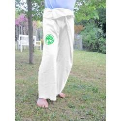 """Pantalon Thaï """"Merci la Vie"""" Blanc - Petite taille"""